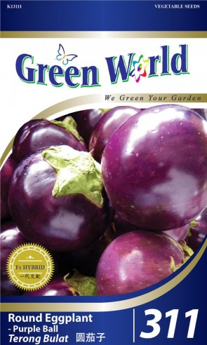 Green World Round Eggplant - Purple Ball
